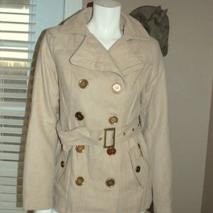 NWT Bongo Beige Double Breasted Belted Car Coat